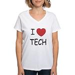 I heart tech Women's V-Neck T-Shirt