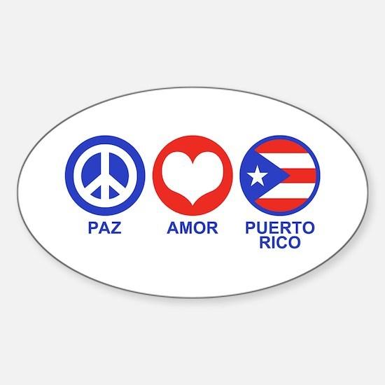 Paz Amor Puerto Rico Sticker (Oval)