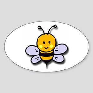 Cute Bee Oval Sticker
