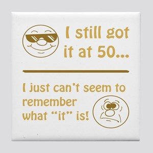 Funny Faces 50th Birthday Tile Coaster