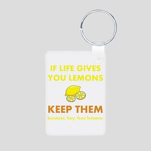 Life Gives You Lemons Aluminum Photo Keychain