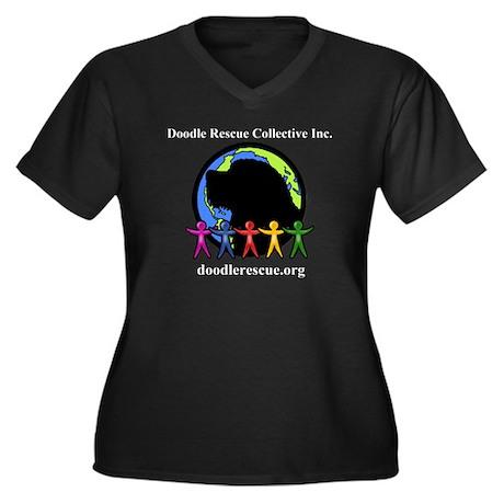 DRC Women's Plus Size V-Neck Dark Tee-BLACK/COLOR