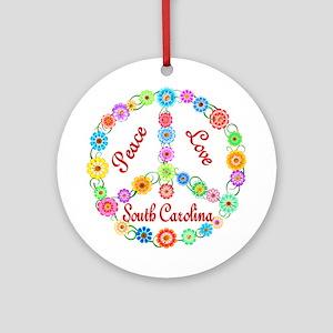 Peace Love South Carolina Ornament (Round)