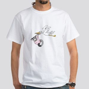 Sweet Babies Stork On Front White T-Shirt