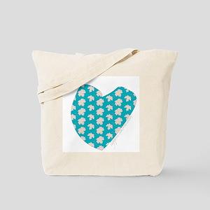 Teal Maple Leaves Tote Bag