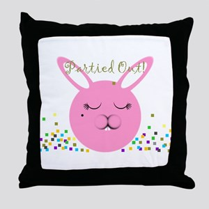 Partied Out Bunny Throw Pillow