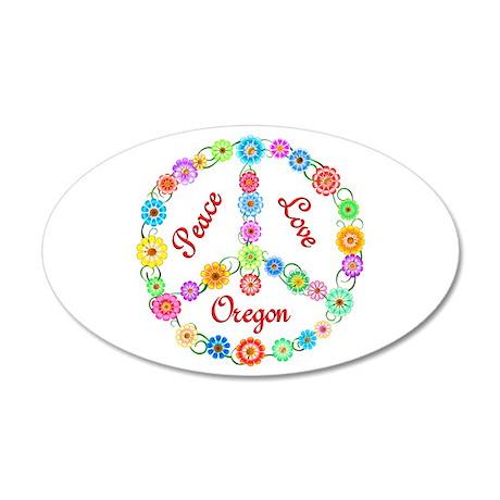 Peace Love Oregon 22x14 Oval Wall Peel