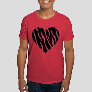 Zebra Fur Heart Dark T-Shirt