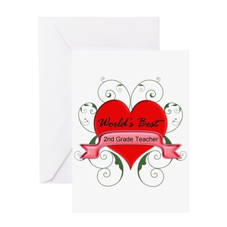 Worlds Best 2nd Teacher with heart Greeting Cards