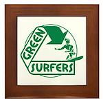 Green Surfers Framed Tile
