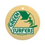 Green Surfers Ornament (Round)