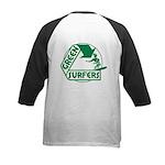 Green Surfers Kids Baseball Jersey