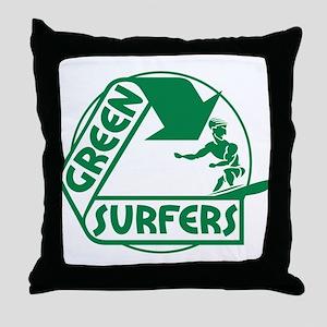 Green Surfers Throw Pillow