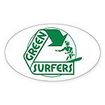 Green Surfers Oval Sticker