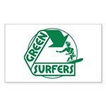 Green Surfers Rectangle Sticker