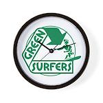 Green Surfers Wall Clock