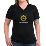 Fire Paddle Women's V-Neck Dark T-Shirt