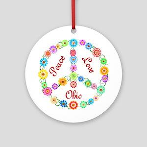 Peace Love Ohio Ornament (Round)