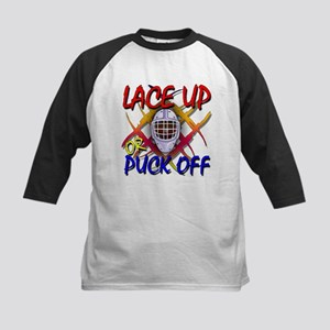 Lace up or Puck Off Hockey Kids Baseball Jersey