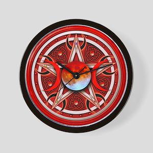 Red Triple Goddess Pentacle Wall Clock