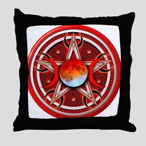 Red Triple Goddess Pentacle Throw Pillow
