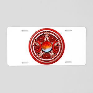 Red Triple Goddess Pentacle Aluminum License Plate