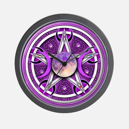 Purple Triple Goddess Pentacle Wall Clock