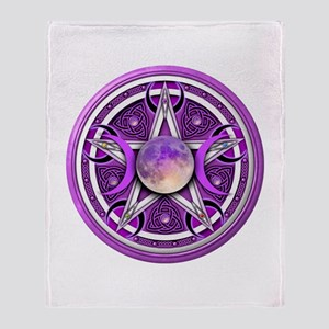 Purple Triple Goddess Pentacle Throw Blanket