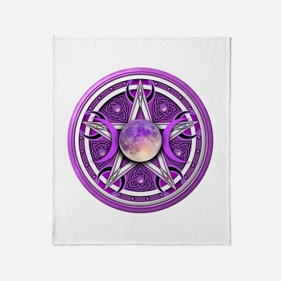 Purple Triple Goddess Pentacle Throw Blanket