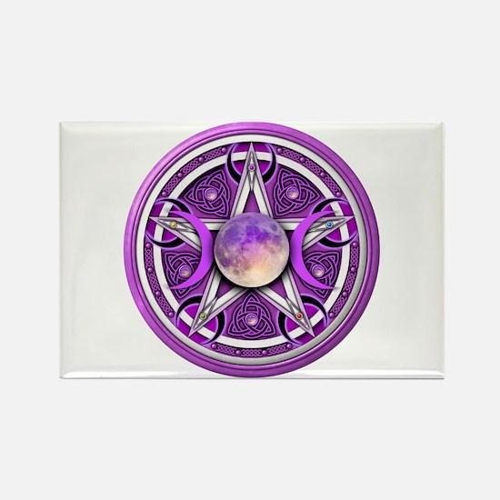 Purple Triple Goddess Pentacle Rectangle Magnet