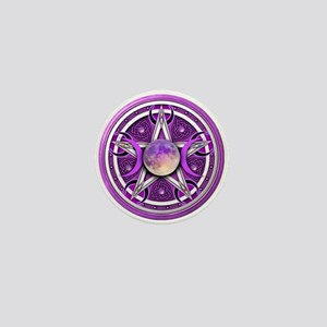 Purple Triple Goddess Pentacle Mini Button