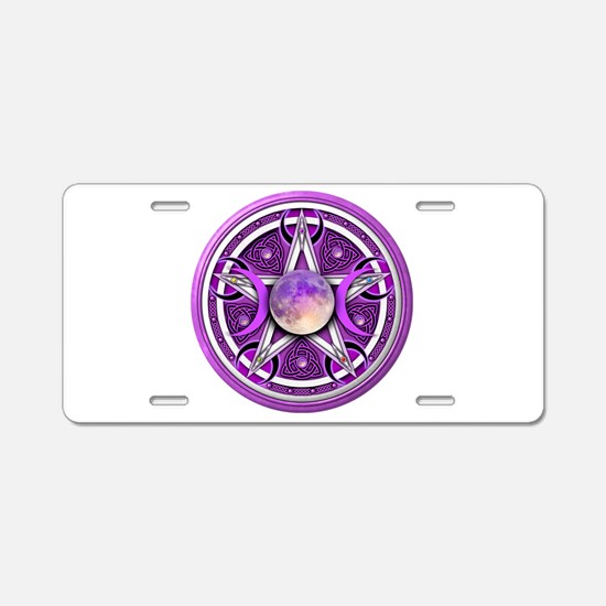 Purple Triple Goddess Pentacle Aluminum License Pl