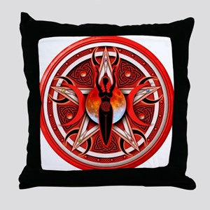 Pentacle of the Red Goddess Throw Pillow