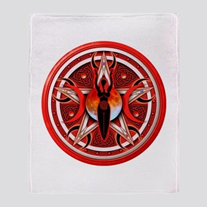Pentacle of the Red Goddess Throw Blanket