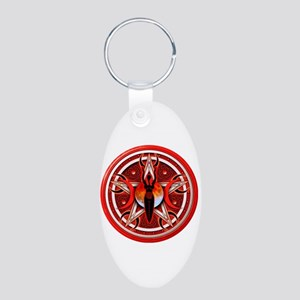 Pentacle of the Red Goddess Aluminum Oval Keychain