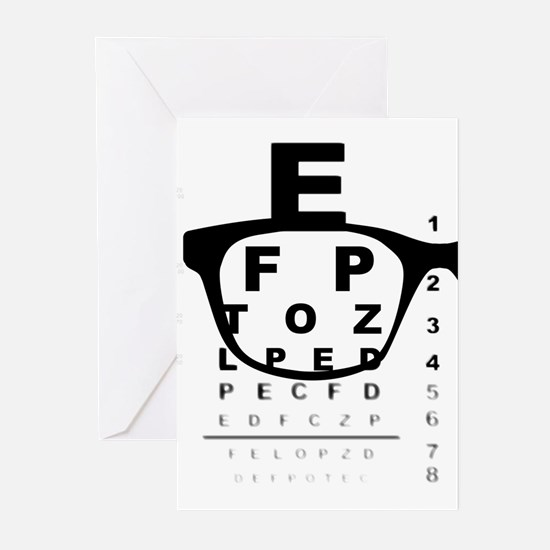Blurry Eye Test Chart Greeting Cards