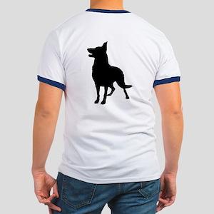 German Shepherd Silhouette Ringer T