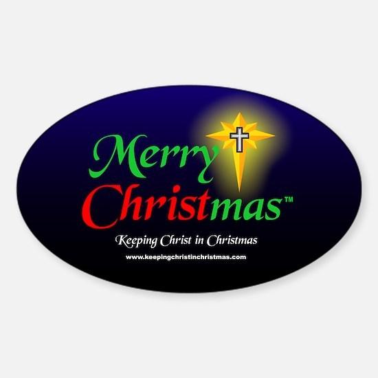 Merry CHRISTmas 3 x 5 Sticker (Oval)