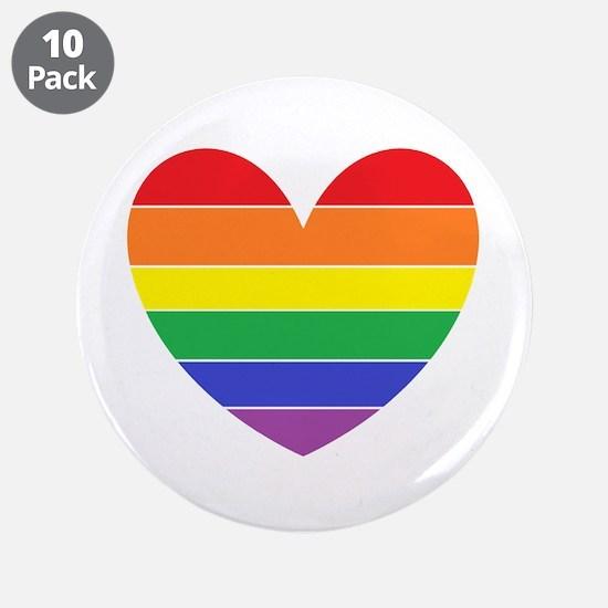 "Rainbow Heart 3.5"" Button (10 pack)"