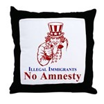 No Amnesty Red Uncle Throw Pillow