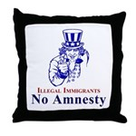 No Amnesty Blue Uncle Throw Pillow