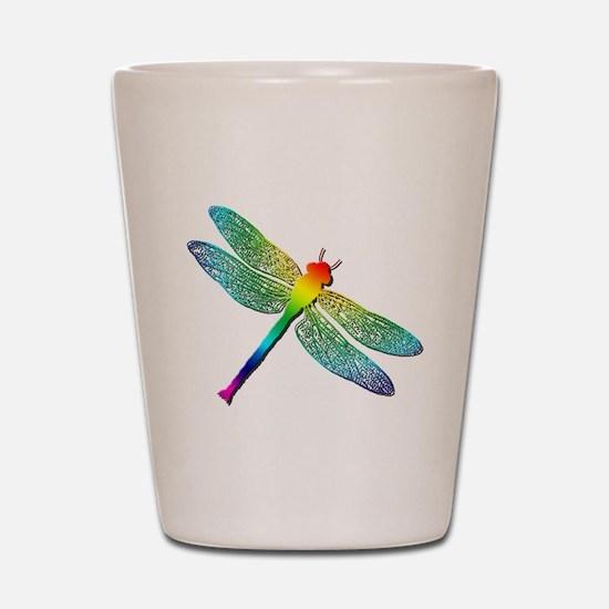 Rainbow Dragonfly Shot Glass