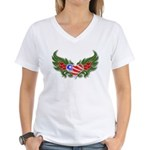 Texas Heart with Wings Women's V-Neck T-Shirt