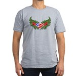 Texas Heart with Wings Men's Fitted T-Shirt (dark)
