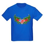 Texas Heart with Wings Kids Dark T-Shirt
