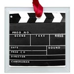 Movie Film video clapperboard design Square Glass
