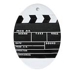 Movie Film video clapperboard design Oval Ornament