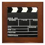 Movie Film video clapperboard design Framed Tile
