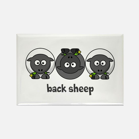 Back Sheep Rectangle Magnet