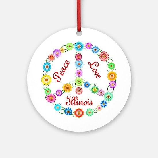 Peace Love Illinois Ornament (Round)